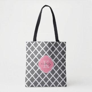 Marroquí gris oscuro y rosado Quatrefoil Monogam Bolsa De Tela