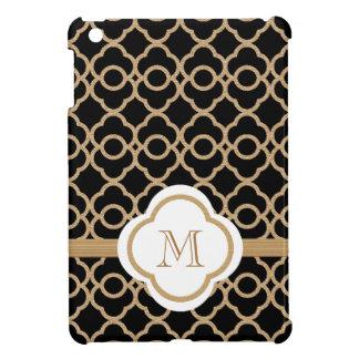 Marroquí negro del oro del andl del monograma iPad mini funda