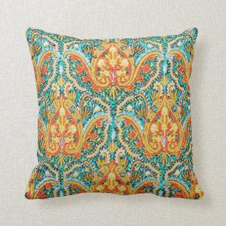 Marroquí Paisley en azul de la aguamarina y Cojín Decorativo