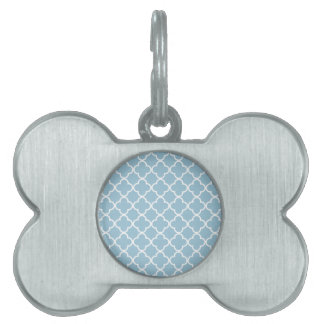Marroquí Patt de Quatrefoil del azul y del blanco Placas De Mascota