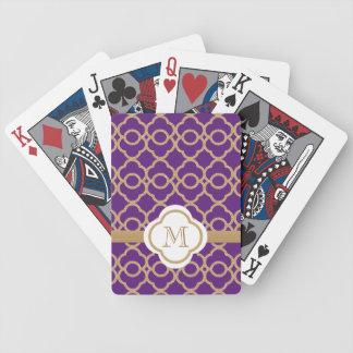 Marroquí púrpura del oro del monograma baraja de cartas