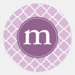 Marroquí púrpura elegante Quatrefoil personalizado Etiqueta Redonda