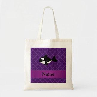 Marroquí púrpura personalizado de la ballena conoc bolsa de mano