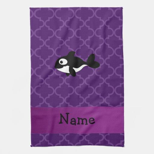 Marroquí púrpura personalizado de la ballena conoc toalla de cocina