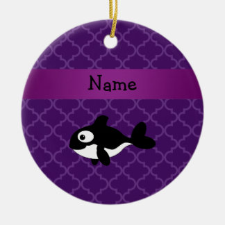 Marroquí púrpura personalizado de la ballena adorno redondo de cerámica