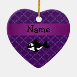 Marroquí púrpura personalizado de la ballena adorno de cerámica en forma de corazón