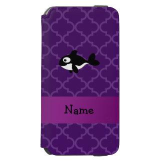 Marroquí púrpura personalizado de la ballena funda billetera para iPhone 6 watson