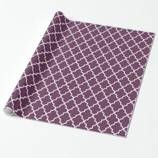 Marroquí púrpura y blanco Quatrefoil de la Papel De Regalo