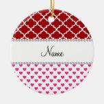 Marroquí rojo personalizado de los corazones rosad ornamento de navidad