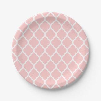 Marroquí rosa claro y blanco Quatrefoil Plato De Papel De 7 Pulgadas