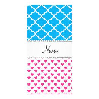 Marroquí rosado conocido personalizado del azul de tarjeta con foto personalizada