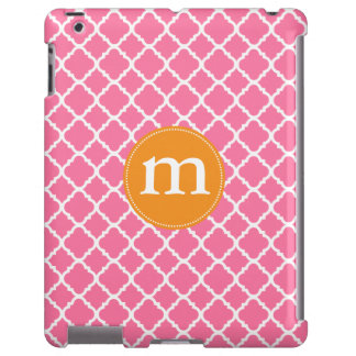 Marroquí rosado elegante Quatrefoil personalizado Funda Para iPad