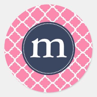 Marroquí rosado elegante Quatrefoil personalizado Etiquetas Redondas