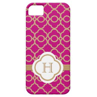 Marroquí rosado fucsia con monograma del oro iPhone 5 Case-Mate cárcasas