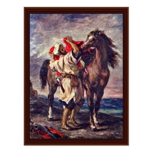 Marroquíes en la silla de montar de su caballo postales