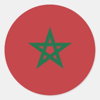 Marruecos/bandera marroquí pegatina redonda
