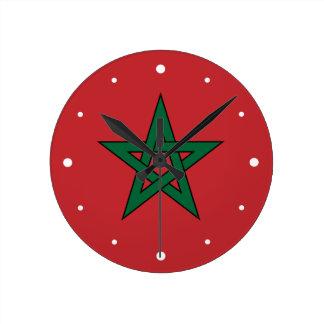 Marruecos - bandera marroquí reloj redondo mediano