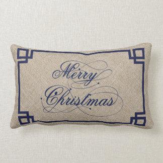 Marry Christmas Blue Text Design Beige Linen Pillow