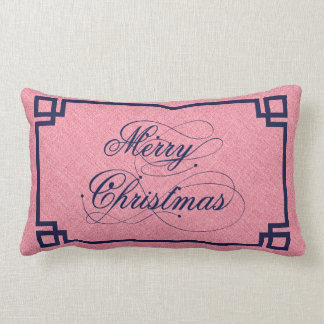 Marry Christmas Blue Text Design Coral-Red Linen Pillows