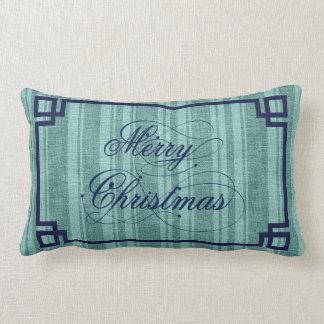 Marry Christmas Blue Text Mint-Green Linen Stripes Throw Pillow