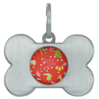 Marry Christmas pattern network Pet Name Tag