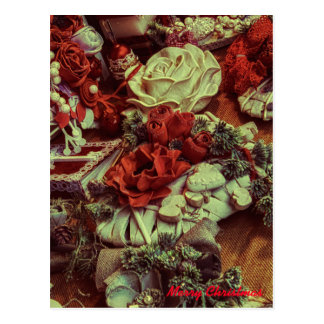 marry christmas red color postcard