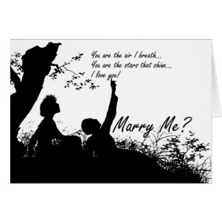 Marry Me Card - Silhouette Couple In Love