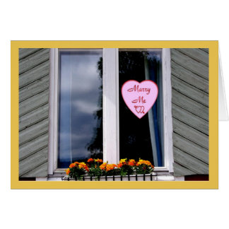 Marry Me Decal On Cottage Window Valentines Day Card