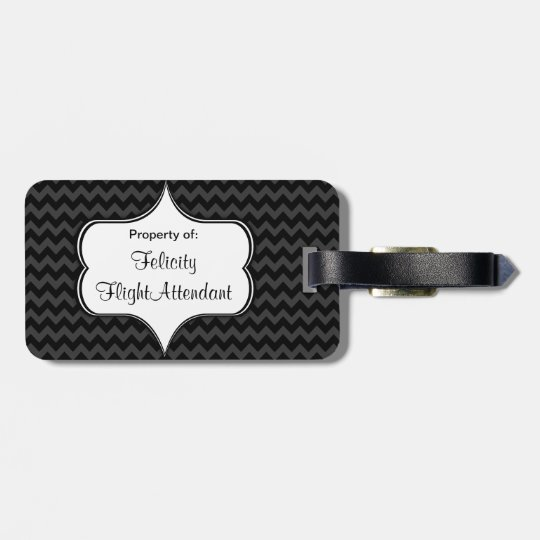 Marry Me Fly Free Charcoal Chevron Luggage Tag