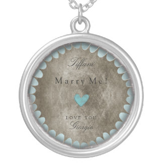 Marry me Love you customizable romantic lovely Nec Round Pendant Necklace