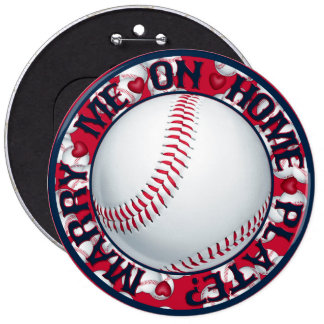 Marry me on Home Plate-Round Baseball Button
