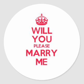 Marry Me Red on White Round Sticker