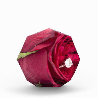 Marry me? Red Rose with diamond ring Award