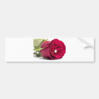 Marry me? Red Rose with diamond ring Bumper Stickers
