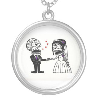 Marry Me Skullina! Silver Plated Necklace