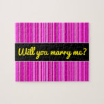 [ Thumbnail: Marry Me? + Thin Magenta and Pink Stripes Pattern Jigsaw Puzzle ]