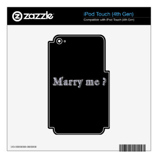 Marry me Vinyl Device Protection Skin iPod Touch 4G Decal
