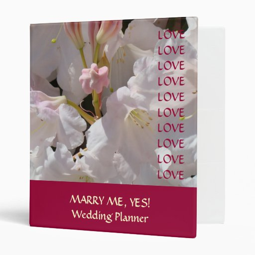 MARRY ME YES! Wedding Planner Book gift Binder Zazzle