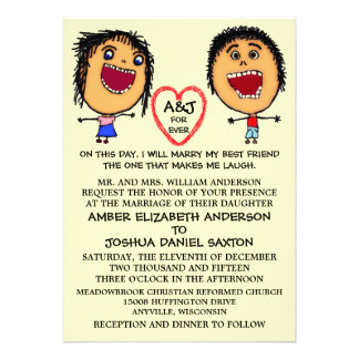Marry My Best Friend People Cartoon Custom Invites