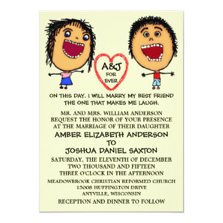 Marry My Best Friend People Cartoon 5x7 Paper Invitation Card