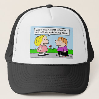 marry school night trucker hat