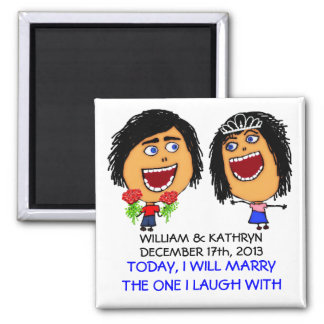 Marrying My Best Friend Cartoon 2 Inch Square Magnet