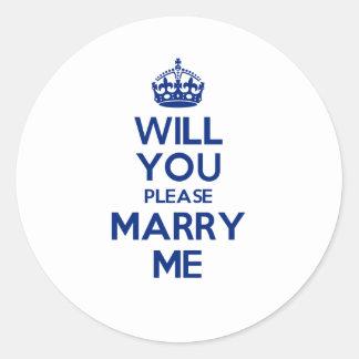 MarryMe Blue on White Round Sticker