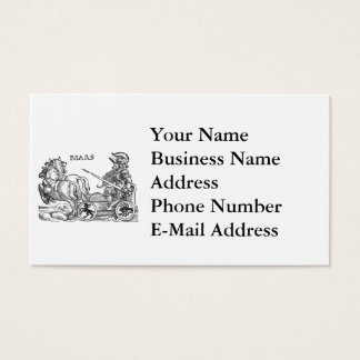 Mars Ares God of War Greek Roman Chariot Cartoon Business Card