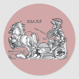 Mars Ares God of War Greek Roman Chariot Cartoon Classic Round Sticker