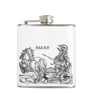 Mars Ares God of War Greek Roman Chariot Cartoon Flask