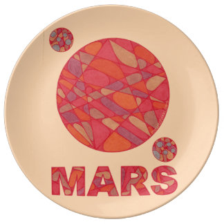 Mars Art The Red Planet Geek Fun Decorative Plate