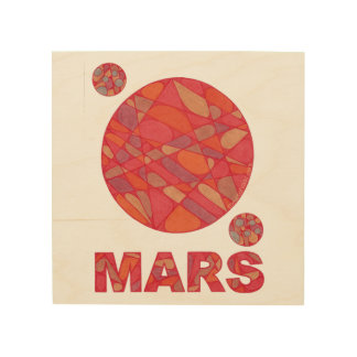 "Mars Art The Red Planet Wood Canvas Print 8"" x 8"" Wood Wall Art"