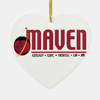 Mars Atmosphere and Volatile EvolutioN (MAVEN) Double-Sided Heart Ceramic Christmas Ornament