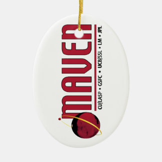 Mars Atmosphere and Volatile EvolutioN (MAVEN) Double-Sided Oval Ceramic Christmas Ornament
